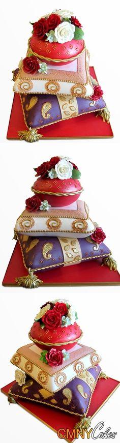 moroccan wedding cakes   Moroccan Pillows Wedding Cake - CMNY Cakes