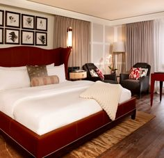 Love the leather headboard, frames over bed, and club chairs. St Regis Aspen Resort