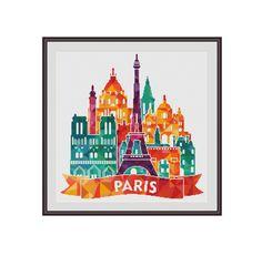 Geometric cross stitch, Triangles Cross stitch, Paris cross stitch, France cross stitch, Paris landmarks, Eiffel tower, Triumphal arch, PDF by StitcheryStitch on Etsy