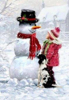 illustrations de richard mcneil - Page 14 Images Vintage, Vintage Cards, Vintage Postcards, Christmas Scenes, Christmas Snowman, Winter Christmas, Xmas, Winter Pictures, Christmas Pictures