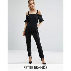 New Look Petite Cold Shoulder Eyelet Detail Jumpsuit (98 AED) ❤ liked on Polyvore featuring jumpsuits, black, petite, zipper jumpsuit, jump suit, petite jumpsuit, new look jumpsuit and bandeau jumpsuit