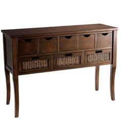 What we love about Logan: Antiqued brown pine meets handwoven rattan insets and hits it off like crazy. An overhang top and accent moulding add handsome detail. But this is no lazy, all-about-looks console. Drawers with cut-out handles make for stylish storage too. Form, meet function. Function, meet form. You, meet Logan. You're all made for each other.
