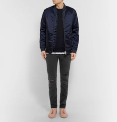 Inspired by style icons of the '70s, <a href='http://www.mrporter.com/mens/Designers/Frame'>FRAME</a> is characterised by its inherently casual-cool appeal. These 'L'Homme' jeans are distressed at the knees and made from stretch-denim that will keep its slim shape. The charcoal hue is a softer alternative to black.