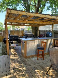 Backyard Pavilion, Backyard Bar, Backyard Patio Designs, Backyard Retreat, Backyard Projects, Outdoor Kitchen Patio, Outdoor Kitchen Design, Outdoor Rooms, Rustic Outdoor Kitchens
