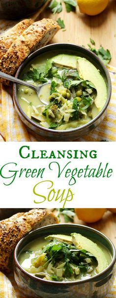 This Cleansing Green Vegetable Soup is bright, lemony, and fresh, plus vegan, gluten free and so unique. It's full of detoxing ingredients and so healthy! Vegetable Cleanse, Vegetable Soup Healthy, Vegetable Soup Recipes, Healthy Soup, Healthy Eating, Healthy Recipes, Detox Recipes, Healthy Foods, Clean Eating
