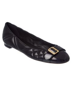 BURBERRY | Burberry Buckle Detail Check Quilted Leather Ballet Flat #Shoes #Flats #BURBERRY