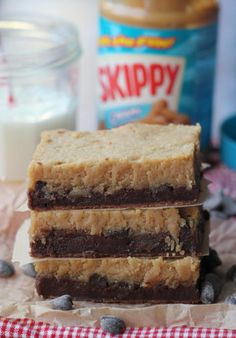 Peanut butter + chocolate brownie things but OMG yum