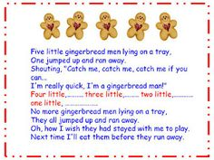 gingerbread man song to go with recipe, cutter, and cookies at christmas . . .