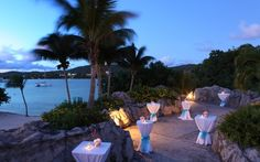 A stunning outdoor cocktail reception area at Sugar Bay Resort & Spa in St. Thomas!