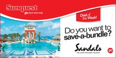 Save big on your next Sandals Resorts vacation with Sunquest Vacations!   Click on the link below and select your preferred Sandals destination from the drop-down menu on the left side of the screen.  Happy booking! ---> http://www.sunquest.ca/en/deals  #travel #vacation #deals