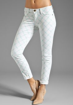 CURRENT/ELLIOTT The Rolled Skinny in Light Jade Rose Latice at Revolve Clothing - Free Shipping!