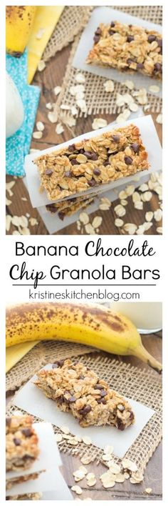 These Banana Chocolate Chip Granola Bars are chewy and lightly sweetened with honey. They are the perfect breakfast or snack! These Banana Chocolate Chip Granola Bars are chewy and lightly sweetened with honey. They are the perfect breakfast or snack! Healthy Granola Bars, Healthy Bars, Healthy Treats, Healthy Baking, Banana Granola, Chocolate Chip Granola Bars, Chocolate Chips, Banana Bars, Chocolate Snacks