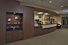 Plan cafes with mobile carts or, in this case, built in cabinetry.  Merrillville, IN