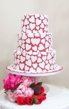 White Hearts Wedding Cake