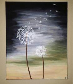 Dandilions canvas painting Like Dandelion Painting, Acrylic Painting Flowers, Simple Acrylic Paintings, Oil Painting Abstract, Acrylic Painting Canvas, Diy Painting, Beginner Painting, Wine And Canvas, Mini Canvas Art