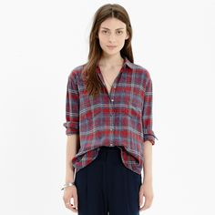 Madewell Flannel Oversized Boyshirt in Bainbridge Plaid - A longer version of our tomboy favorite with a cool, slit shirttail hem. An easy, oversized shape fashioned in the softest flannel.  $79.50
