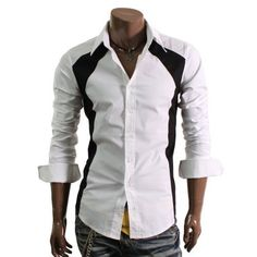 Doublju Mens Casual 2 Tone Dress Shirts (EXL19)