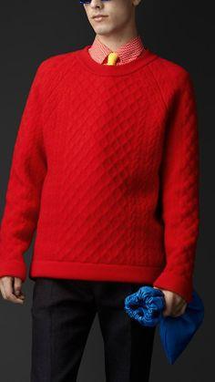 Burberry Prorsum Double Cashmere Blend Aran Sweater