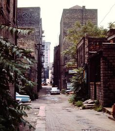 The alley behind the east side of Lower Monroe Ave., looking south from Michigan Street NW toward McKay Tower. All structures here were cleared in the 1960s for downtown urban renewal. This is the present site of the Grand Rapids City Hall and Calder Plaza complex. (Courtesy photo | Grand Rapids Public Museum).