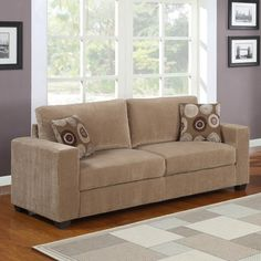 @Overstock - This 'Colette' sofa is upholstered in a soft corduroy fabric. Two included square throw pillows with an abstract circle design complement the understated yet sophisticated style of this sofa.http://www.overstock.com/Home-Garden/Colette-Brown-Corduroy-Sofa/7330088/product.html?CID=214117 $474.29