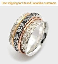 Tri color spinner cz spinning ring wide ring for women