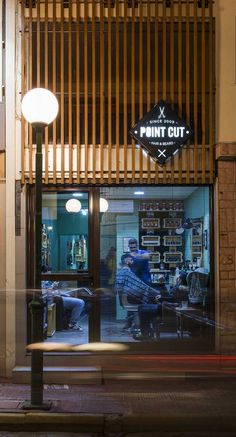 PointCut Barber Shop  Wood and Metal Facade Remake