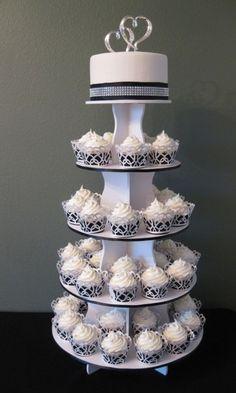 cupcake wedding cake red gray white - Google Search