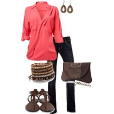 Coral, Brown & Gold