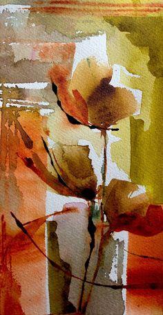 Petit instant N°333 - Peinture, 20x10 cm ©️️2015 par Véronique Piaser-Moyen - Peinture contemporaine, Papier, Fleur, aquarelle, watercolor, fleur, flower, veronique piaser-moyen, piaser