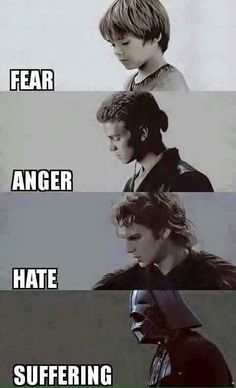 Fear leads to anger, anger leads to hate, hate leads to suffering...