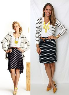 black & white polka dot skirt, black & white striped cardigan, white top, yellow/brown accessories