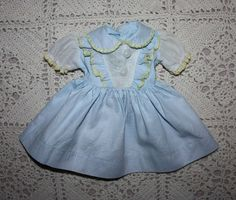 Blue Pique and Organdy Dress for Hard Plastic Dolls 1950s