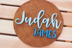 Decorate your nursery with this stylish, modern wooden name sign! Everything is hand crafted with a whole lot of love!  Each piece will be cut, sanded, painted and stained by hand. The stain may vary due to the grains and knots from the wood. That is what makes your sign so unique! Personalized Wooden Signs, Wooden Name Signs, Diy Wood Signs, Wooden Names, Wooden Diy, Handmade Wooden, Kid Names, Children Names, Name Plaques