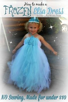Frozen Elsa Dress, How to make a Disney Frozen Elsa Dress with NO SEWING and made for UNDER $10, #Frozen, #ElsaDress, #ElsaCostume
