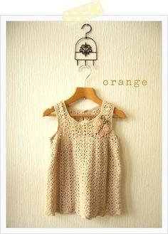 orange, crochet top
