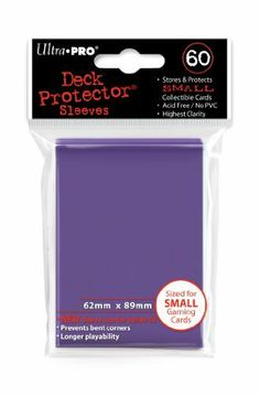 Ultra Pro Card Supplies YUGIOH Deck Protector Sleeves Purple 60 Count by Ultra Pro. $4.70. Stores + Protects SMALL Collectible Cards including Yugioh. Highest Clarity - Prevents bent corners. New Sleeve Size For Better Fit !!. Brand New Ultra Pro Deck Protector Sleeves PURPLE. Acid Free/No PVC - 62mm x 89mm. UPR82687 YuGiOh Deck Protector Card Sleeves (Purple) by Ultra Pro Feature:Longer PlayabilityMeasure 2.44in x 3.50in (62mm x 89mm) - Fits Smaller Size Yu-Gi-Oh cards, and ...