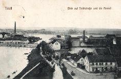 4889/ Foto AK, Tilsit, Blick auf Teichstraße und die Memel, 1915