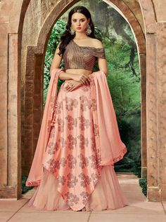 Buy Starring Peach Colored Partywear Embroidered Silk-Net Lehenga Choli at Rs. Get latest Lehenga at Peachmode. Lehenga Choli Online, Indian Lehenga, Silk Lehenga, Anarkali, Plain Lehenga, Ghagra Choli, Silk Dupatta, Choli Designs, Lehenga Designs