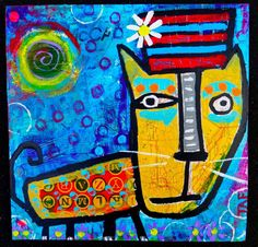 Tracey Ann Finley Original Outsider Raw Folk Painting Cat Wearing A Striped Hat #OutsiderArt