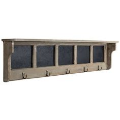 """Maximize any space, no matter how small, with clever functional accents.    This Gray Wooden Shelf with 5-Hooks & Chalkboards is both stylish and useful! Featuring a flat shelf surface, five antique brass hooks, five black MDF chalkboards for easy labeling, and a whitewashed gray finish, this lightweight shelf is the perfect shabby-chic solution to any organizational issue!    Dimensions:      Length: 9""""    Width: 36 5/8""""    Projection: 4 5/8""""      Hanging ..."""