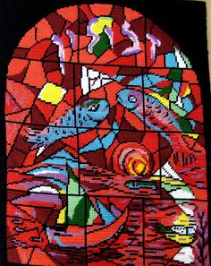 Chagall Windows in Needlepoint Hand stitched by RozziesCraftCorner, $150.00