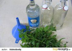 Mátový likér - žaludeční recept - TopRecepty.cz Destiel, Vodka, Water Bottle, Food, Syrup, Alcohol, Essen, Water Bottles, Meals