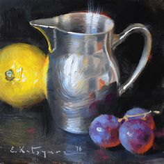 Silver, Lemon, Grapes by Elena Katsyura Oil ~ 6 in x 6 in