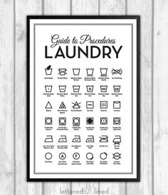 Laundry Symbols - print - Mid Century, Mid-Century Modern, Guide To Procedures, Laundry, Reference, Rules, Sign, Decor, Art
