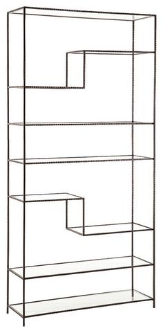 Arteriors Worchester Natural Iron and Glass Bookshelf