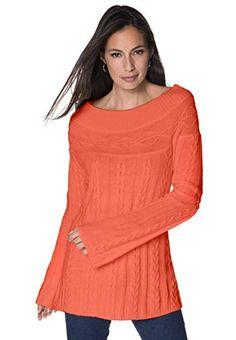 Jessica London Women's Plus Size Cable Knit Tunic Spice