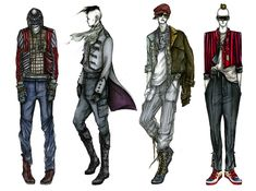 Fashion Illustrator Mengjie Di: Commission from StyleSight Trend ForeCasting Menswear Illustrations ( Photoshop Rendering, Marker Pencil )