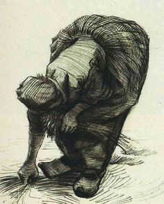 Vincent van Gogh: Peasant Woman Stooping and Gleaning  Nuenen: July, 1885 (Essen, Museum Folkwang)