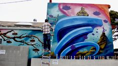 An aerosol artist by the name of Marioe was spotted painting Kathmandu Boutique in Santa Monica this past Saturday. Marioe is a Venice Beach resident and has several prismatic pieces  around the streets of Venice Beach and Santa Monica. Photo: Desilu Munoz