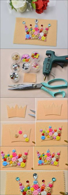 #DIY a cute #crown for kids with #Beebeecraft #buttons and #beads